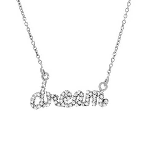 Sterling Essentials Silver Cubic Zirconia Script 'Dream' Word Necklace