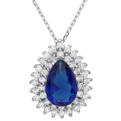 Roberto Martinez Sterling Silver Royal Blue Pear-cut Cubic Zirconia Halo Necklace