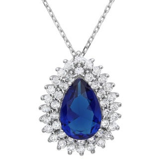 Sterling Silver Royal Blue Pear-cut Cubic Zirconia Halo Necklace