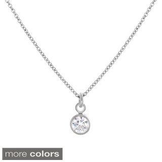 Sterling Essentials Sterling Silver Cubic Zirconia Bezel Pendant Adjustable Necklace