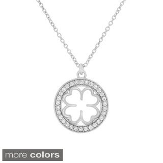 Sterling Essentials Sterling Silver Cubic Zirconia Clover Medal Adjustable Necklace