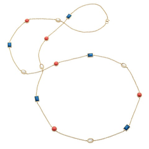 Sterling Essentials Goldplated Silver 36-inch Multi-stone Cabachon Necklace