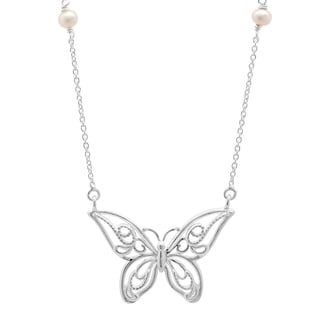 Sterling Essentials Silver Cultured Glass Pearl Butterfly Necklace