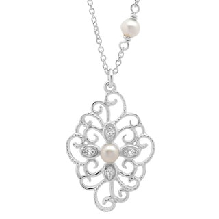 Sterling Essentials Silver Faux Pearl Medallion Adjustable Necklace