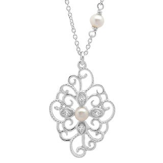Sterling Silver Faux Pearl Medallion Adjustable Necklace