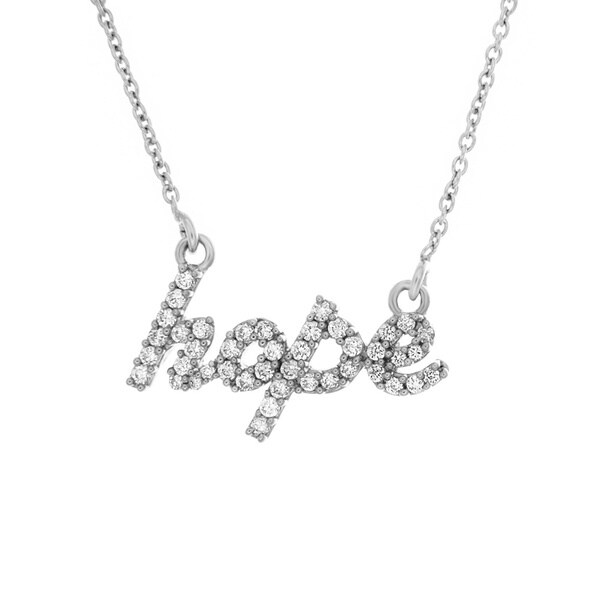 Sterling Essentials Silver Cubic Zirconia 'Hope' Necklace. Opens flyout.