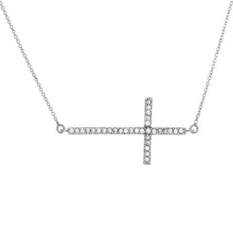 Sterling Essentials Silver Large Cubic Zirconia Sideways Cross Adjustable Necklace