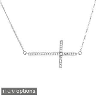 Sterling Essentials Silver Large Cubic Zirconia Sideways Cross Adjustable Necklace