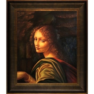 Leonardo da Vinci 'The Virgin of the Rocks (detail - young woman)' Hand-painted Framed Canvas-art