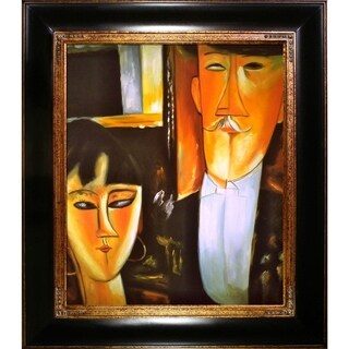 Amedeo Modigliani 'Bride and Groom' Hand-painted Framed Canvas-art