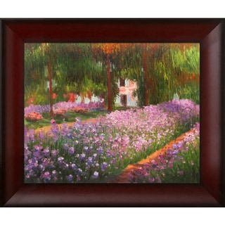 Claude Monet 'Artist's Garden at Giverny' Hand-painted Framed Canvas-art