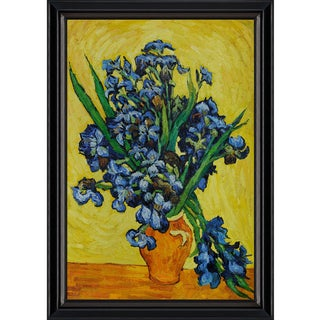 Vincent Van Gogh 'Irises in a Vase' Hand-painted Framed Canvas-art