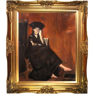 Edouard Manet 'Berthe Morisot with a Fan' Hand-painted Framed Canvas-art