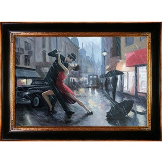 Adrian Borda 'Life is a Dance in The Rain' Hand-painted Framed Canvas-art