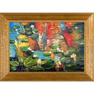 Justyna Kopania 'Water Lilies' Hand-painted Framed Canvas-art