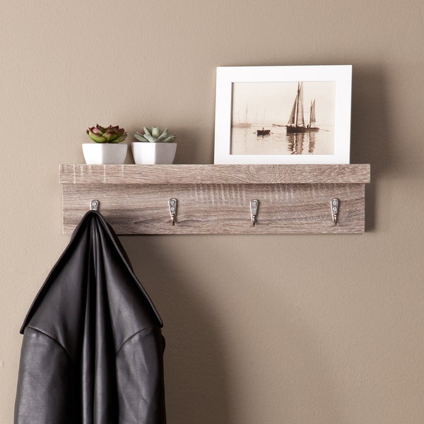 Laurel Creek Camden Grayed Oak Wall Mount Shelf with Hooks