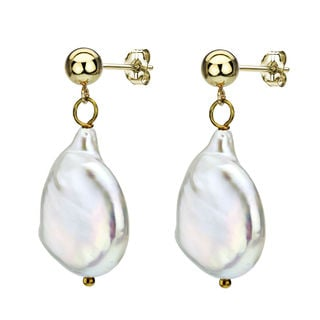 DaVonna 14k Yellow Gold White Semi-coin Baroque Pearl Earrings (15-16 mm)