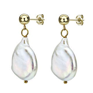 DaVonna 14k Yellow Gold White Semi-coin Baroque Pearl Earrings (15-16 mm)|https://ak1.ostkcdn.com/images/products/9585161/P16770423.jpg?impolicy=medium
