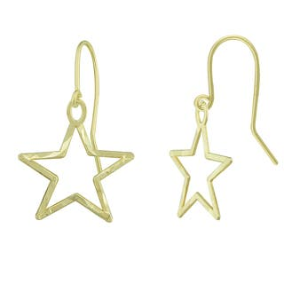 14k Gold Diamond-cut Star Shape Dangle Earrings|https://ak1.ostkcdn.com/images/products/9585179/P16770432.jpg?impolicy=medium