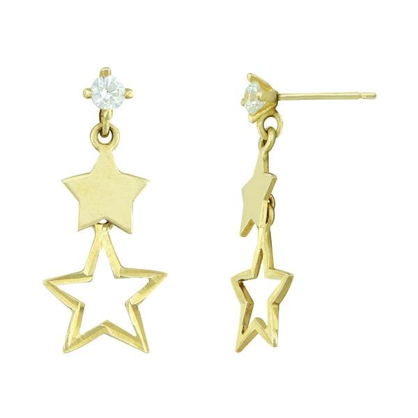 14k Gold Cubic Zirconia Star Dangle Earrings