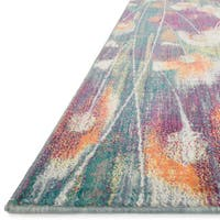 Contemporary Pink/ Teal Abstract Floral Area Rug - 7'7 x 10'5