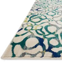 Contemporary Teal/ Ivory Abstract Area Rug - 3'9 x 5'2