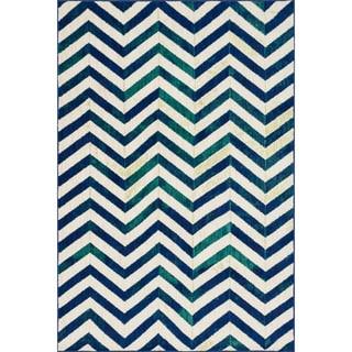 Skye Monet Ivory/ Blue Chevron Rug (2'0 x 3'0)