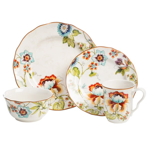 222 fifth bella vista 16 piece floral dinnerware set for 222 fifth dinnerware