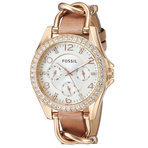 Fossil Women's Riley Multi-function Rose Goldtone Leather Watch