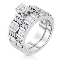 Eloquence 14k White Gold 1 5/8ct TDW Round And Baguette-cut Diamond Wedding Set (J-K, I1-I2)
