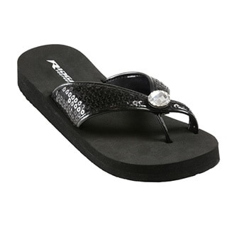 Black Sequin Flip Flops