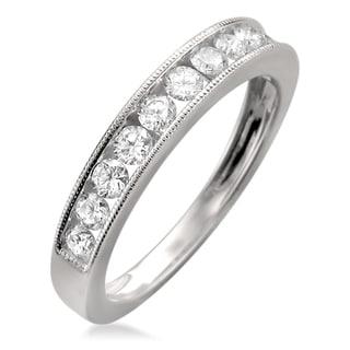 Montebello 18k White Gold 1/4ct TDW Diamond Milgrain Channel-set Wedding Band (F-G, VS1)