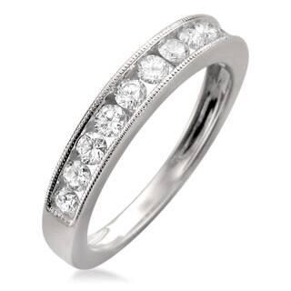 Montebello 18k White Gold 1 2ct TDW Diamond Milgrain Channel Set Wedding Band