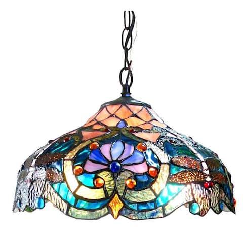 Chloe Tiffany Style Victorian/Dragonfly Design 2-light Pendant