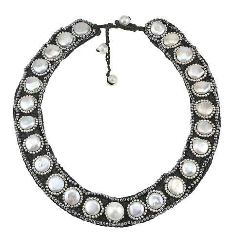 Handmade Statement Freshwater Pearl Coin Embellished Bib Necklace (Thailand)