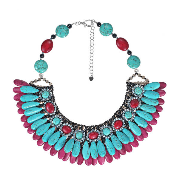 Glam Cascading Teardrop Turquoise and Synthetic Coral Bib Necklace
