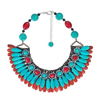 Glam Cascading Teardrop Turquoise and Coral Bib Necklace (Thailand)
