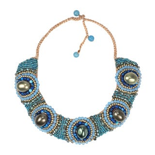 Festive Blue Tone Stones Cotton Rope Bib Necklace (Thailand)