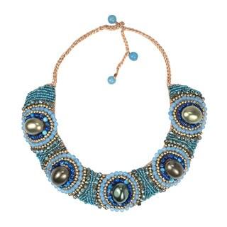Handmade Festive Blue Tone Stones Cotton Rope Bib Necklace (Thailand)