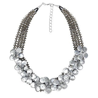 Handmade Floral Harmony Silver Coin Pearl Lace Sakura Necklace (Thailand)