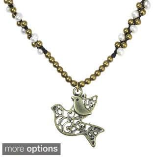Handmade Interlacing Freshwater Pearl Animal Motif Brass Necklace (Thailand)