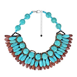 Handmade Exquisite Teardrop Turquoise Brown Howlite Cluster Necklace (Thailand)