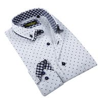 Banana Lemon Men's White Patterned Button-down Shirt