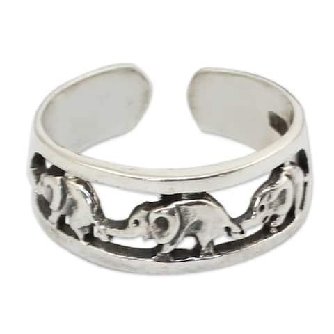 Sterling Silver Elephant Walk Toe Ring (Thailand)
