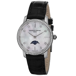 Frederique Constant Women's FC-206MPWD1SD6 'Slim Line' Mother of Pearl Dial Leather Strap Watch