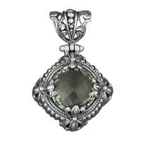 Handmade Sterling Silver Green Amethyst Fields Pendant (Indonesia)