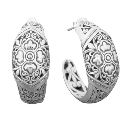 Handmade Sterling Silver 'Floral Paradise' Half Hoop Cawi Earrings (Indonesia)