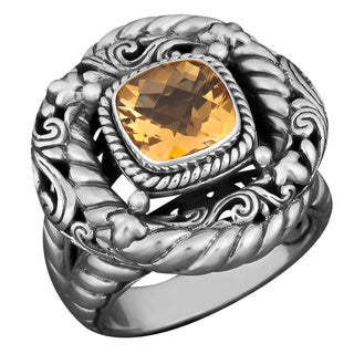 Sterling Silver Citrine Solitaire Cawi Ring (Indonesia)