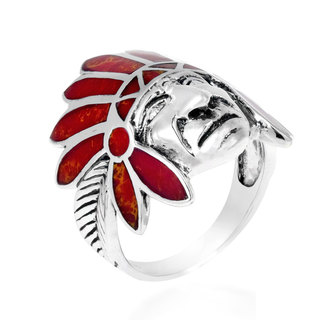 Tribal Native Indian Chief Head Stone .925 Silver Ring (Thailand)