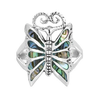 Mystique Butterfly Abalone Stone Inlay .925 Silver Ring (Thailand)